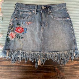 Express Floral Embroidered Denim Mini Skirt